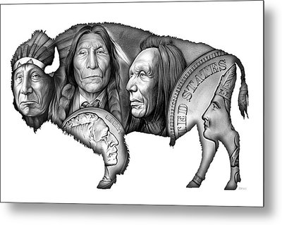 Bison Indian Montage 2 Metal Print by Greg Joens