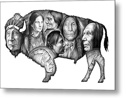 Bison Indian Montage Metal Print by Greg Joens