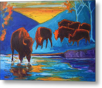 Bison Turquoise Hill Sunset Acrylic And Ink Painting Bertram Poole Metal Print by Thomas Bertram POOLE
