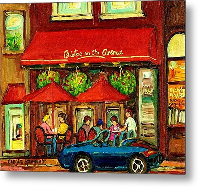 Bistro On Greene Avenue In Montreal Metal Print by Carole Spandau