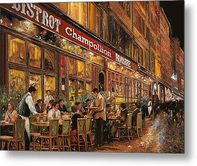 Bistrot Champollion Metal Print by Guido Borelli