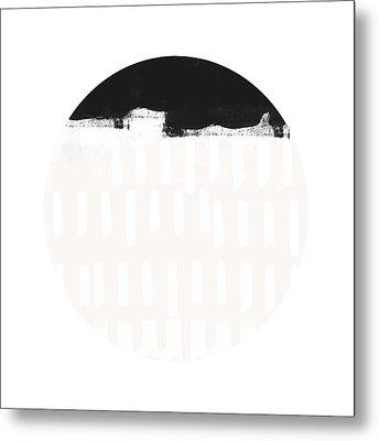 Black And Blush Abstract Circle 4- Art By Linda Woods Metal Print by Linda Woods