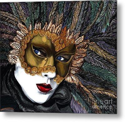 Black And Gold Carnival Mask Metal Print