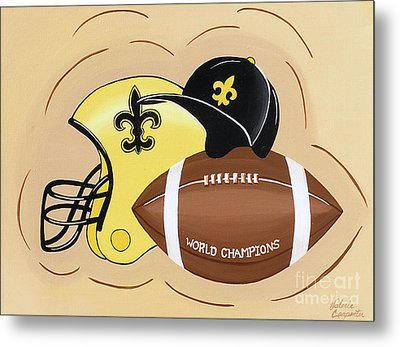 Black And Gold Champs Metal Print by Valerie Carpenter
