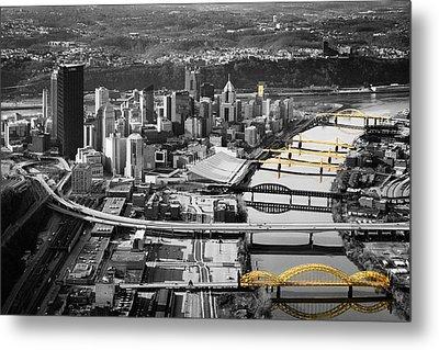 Black And Gold Pittsburgh  Metal Print