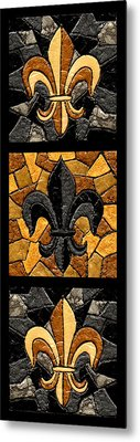 Black And Gold Triple Fleur De Lis Metal Print by Elaine Hodges