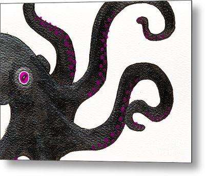Black And Purple Octopus Metal Print