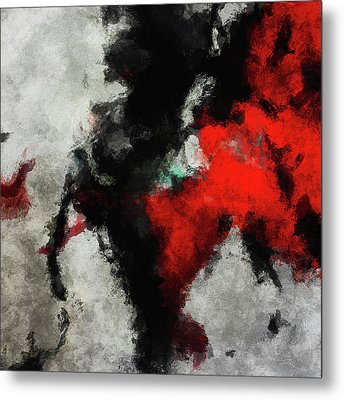Black And Red Abstract Minimalist Painting Metal Print