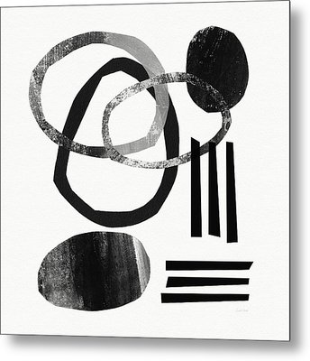 Black And White- Abstract Art Metal Print by Linda Woods