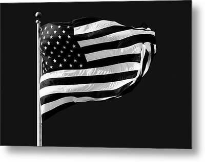 Black And White American Flag Metal Print by Steven Michael