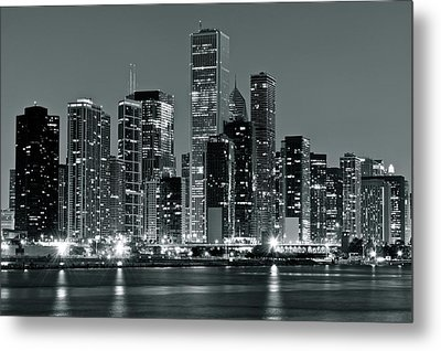 Metal Print featuring the photograph Black And White And Grey Chicago Night by Frozen in Time Fine Art Photography
