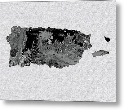 Black And White Art Puerto Rico Map Metal Print by Saribelle Rodriguez