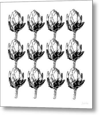 Metal Print featuring the mixed media Black And White Artichokes- Art By Linda Woods by Linda Woods