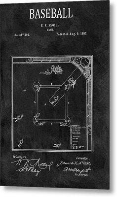 Black And White Baseball Game Patent Metal Print