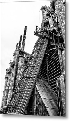 Black And White - Bethlehem Steel Mill Metal Print by Bill Cannon