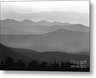 Black And White Blue Ridge Mountains Metal Print by Thomas R Fletcher