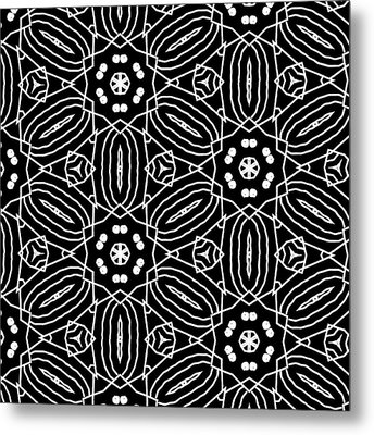 Black And White Boho Pattern 2- Art By Linda Woods Metal Print by Linda Woods