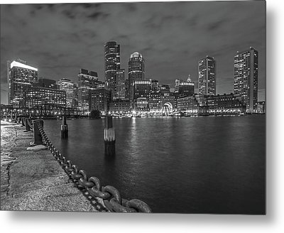 Black And White Boston Metal Print