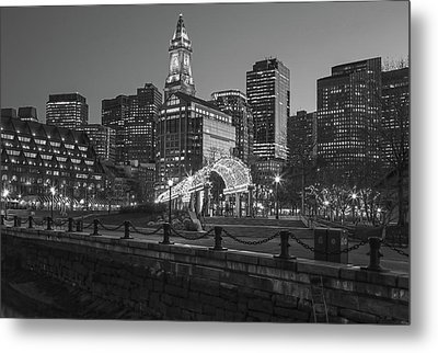 Black And White Boston North End Metal Print
