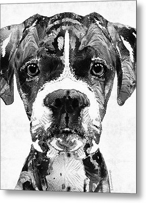 Black And White Boxer Dog Art By Sharon Cummings  Metal Print by Sharon Cummings
