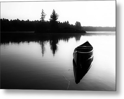 Black And White Canoe In Still Water Metal Print