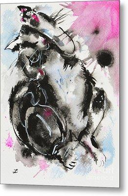 Metal Print featuring the painting Black And White Cat Sleeping by Zaira Dzhaubaeva