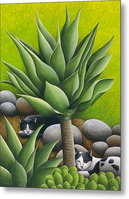 Black And White Cats With Agaves Metal Print