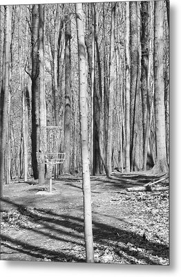 Black And White Disc Golf Basket Metal Print by Phil Perkins