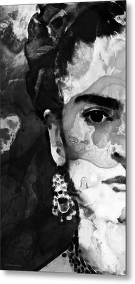 Black And White Frida Kahlo By Sharon Cummings Metal Print