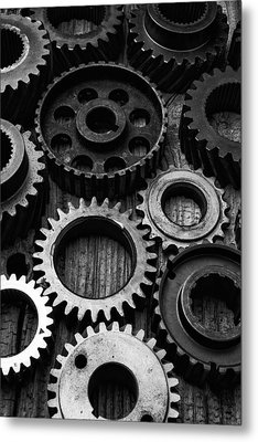 Black And White Gears Metal Print by Garry Gay