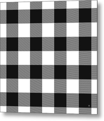 Black And White Gingham Large- Art By Linda Woods Metal Print
