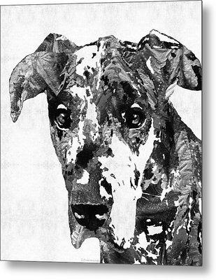Black And White Great Dane Art Dog By Sharon Cummings Metal Print by Sharon Cummings
