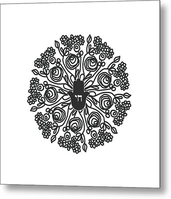 Metal Print featuring the mixed media Black And White Hamsa Mandala- Art By Linda Woods by Linda Woods