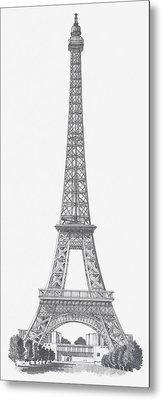 Black And White Illustration Of Eiffel Tower Metal Print by Dorling Kindersley