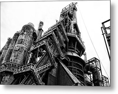 Black And White Industrial - Bethlehem Steel Metal Print by Bill Cannon