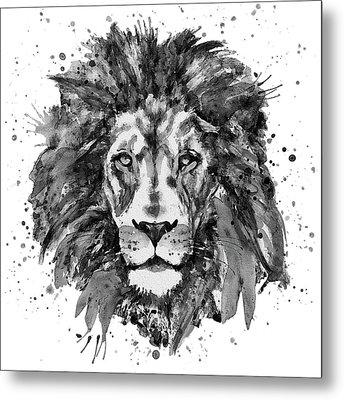 Metal Print featuring the mixed media Black And White Lion Head  by Marian Voicu