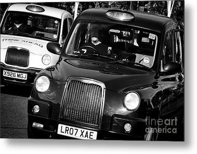 Black And White London Taxi Cabs Metal Print by Andy Smy