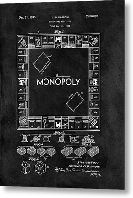 Black And White Monopoly Game Patent Metal Print