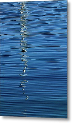 Metal Print featuring the photograph Black And White On Blue by Tom Vaughan