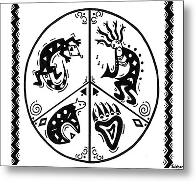 Black And White Peace And Love Metal Print by Susie WEBER