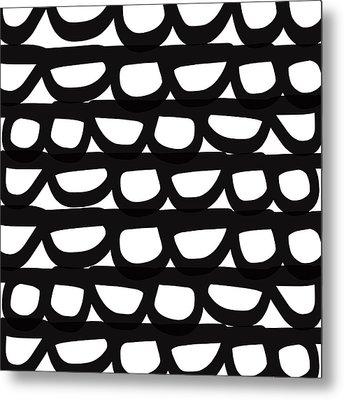 Black And White Pebbles- Art By Linda Woods Metal Print