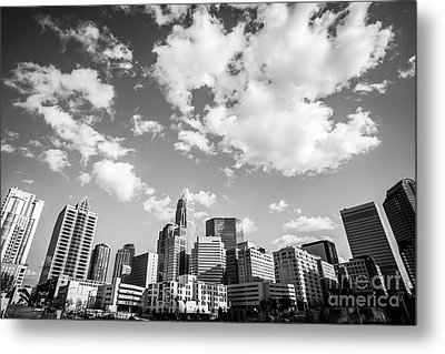 Black And White Photo Of Charlotte Skyline Metal Print by Paul Velgos
