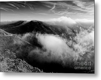 Black And White Photograph Of Fog Rising In The Marin Headlands - Sausalito Marin County California Metal Print by Silvio Ligutti