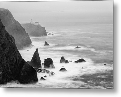 Black And White Photograph Of Point Bonita Lighthouse - Marin Headlands San Francisco California Metal Print