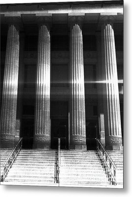 Black And White Pillars Metal Print by Phil Perkins
