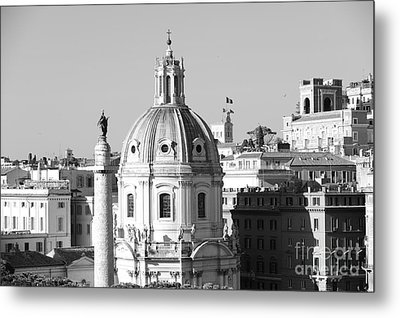 Black And White Rooftop In Rome Metal Print by Stefano Senise