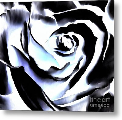Metal Print featuring the photograph Black And White Rose - Till Eternity by Janine Riley