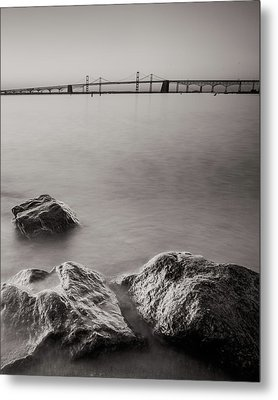 Metal Print featuring the photograph Black And White Sandy Point by Jennifer Casey