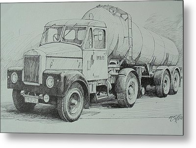 Metal Print featuring the drawing Black And White Scammell. by Mike Jeffries