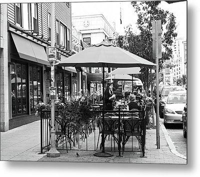 Black And White Sidewalk Cafe Metal Print by Mary Ann Weger